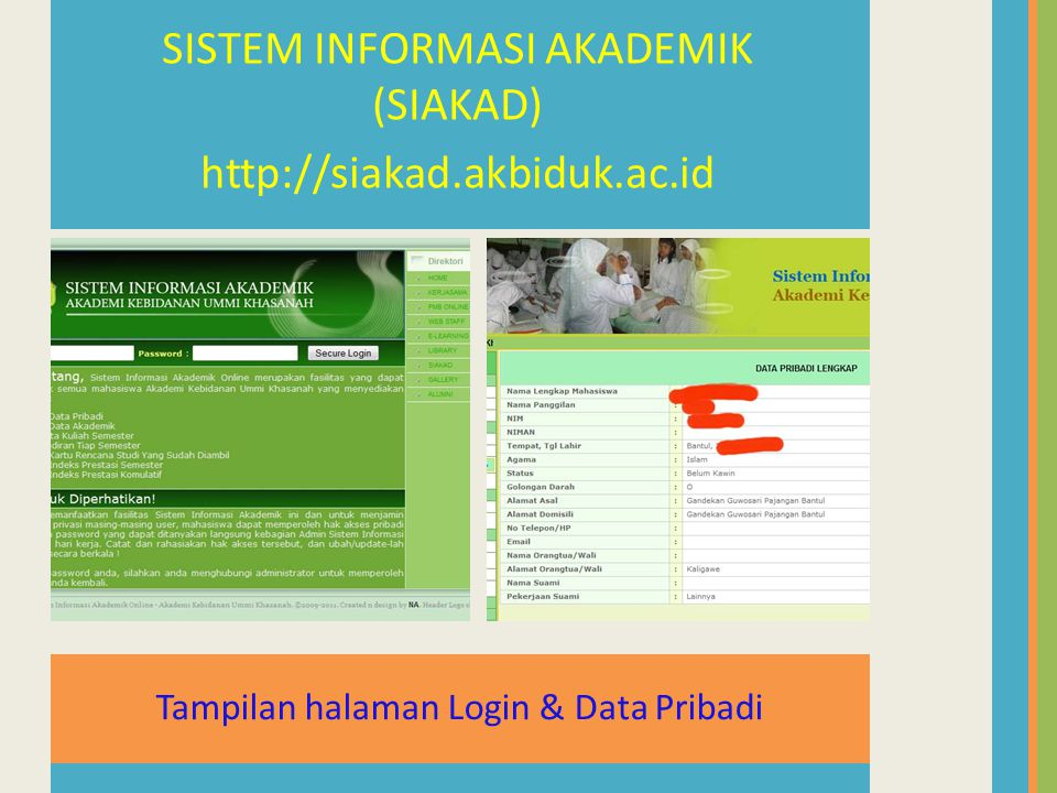 Tampilan halaman Login & Data Pribadi SISTEM INFORMASI AKADEMIK (SIAKAD) http://siakad.akbiduk.ac.id