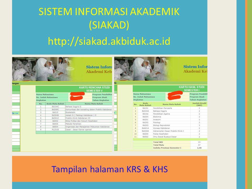 Tampilan halaman KRS & KHS SISTEM INFORMASI AKADEMIK (SIAKAD) http://siakad.akbiduk.ac.id