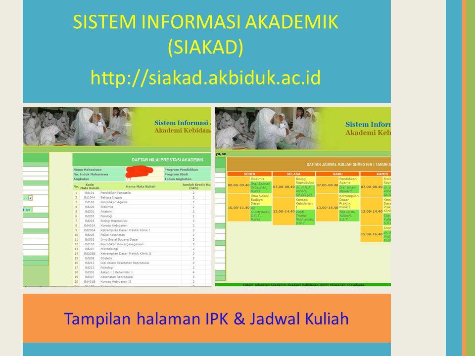 Tampilan halaman IPK & Jadwal Kuliah SISTEM INFORMASI AKADEMIK (SIAKAD) http://siakad.akbiduk.ac.id
