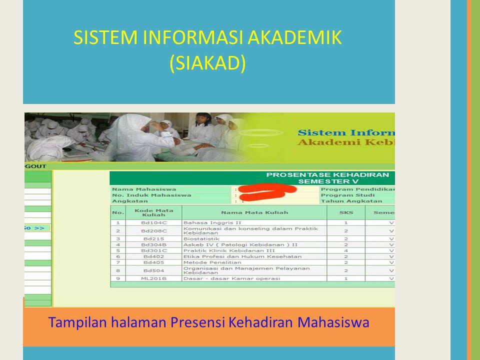 Tampilan halaman Presensi Kehadiran Mahasiswa SISTEM INFORMASI AKADEMIK (SIAKAD)
