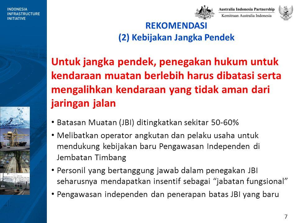 8 The Sumatera Region Roads Project (2001-2005) Bantuan Teknis pada penegakan aturan batasan beban dan dimensi kendaraan sebagai model percontohan kelembagaan baru untuk VWDE – Edukasi peningkatan kesadaran para operator dan pelaku usaha – Usulan adanya jabatan fungsional sebagai dasar untuk insentif tambahan yang signifikan sebagai timbal balik atas kinerja yang baik untuk kepentingan umum – Pengawasan independen dengan alat WIM untuk verifikasi akurasi data yang dilaporkan Hal tersebut BERHASIL  merupakan model yang sangat baik untuk dapat diimplementasikan saat ini!
