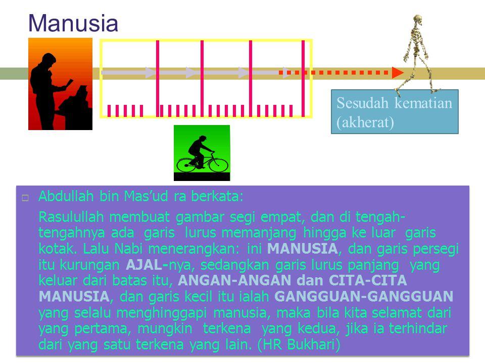 Manusia  Abdullah bin Mas'ud ra berkata: Rasulullah membuat gambar segi empat, dan di tengah- tengahnya ada garis lurus memanjang hingga ke luar garis kotak.