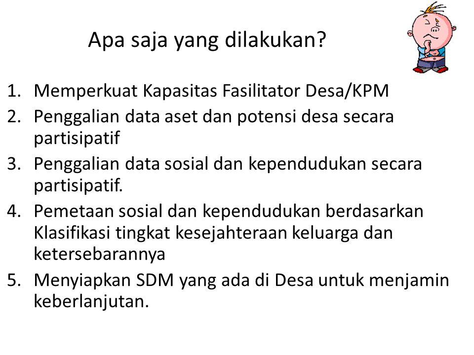 Apa saja yang dilakukan? 1.Memperkuat Kapasitas Fasilitator Desa/KPM 2.Penggalian data aset dan potensi desa secara partisipatif 3.Penggalian data sos