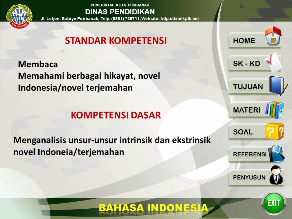PEMERINTAH KOTA PONTIANAK DINAS PENDIDIKAN Jl. Letjen. Sutoyo Pontianak, Telp. (0561) 736711, Website: http://dindikptk.net UNSUR INTRINSIK NOVEL