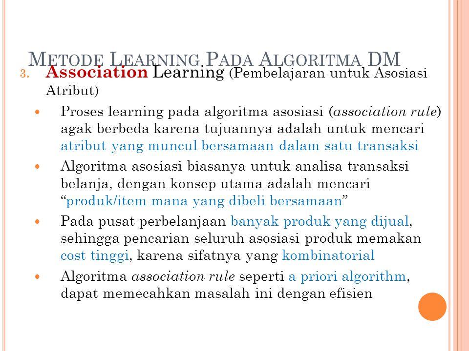 M ETODE L EARNING P ADA A LGORITMA DM 3. Association Learning (Pembelajaran untuk Asosiasi Atribut) Proses learning pada algoritma asosiasi ( associat