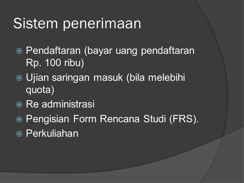 Sistem penerimaan  Pendaftaran (bayar uang pendaftaran Rp.