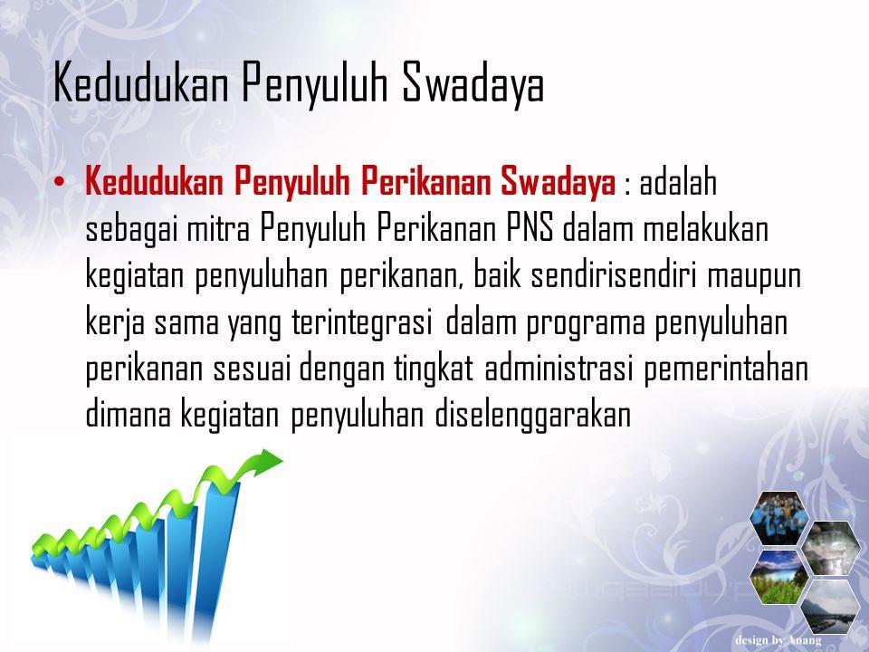 Kedudukan Penyuluh Swadaya Kedudukan Penyuluh Perikanan Swadaya : adalah sebagai mitra Penyuluh Perikanan PNS dalam melakukan kegiatan penyuluhan peri