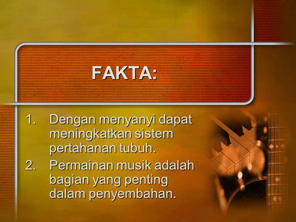 FAKTA: 1.Dengan menyanyi dapat meningkatkan sistem pertahanan tubuh. 2.Permainan musik adalah bagian yang penting dalam penyembahan.