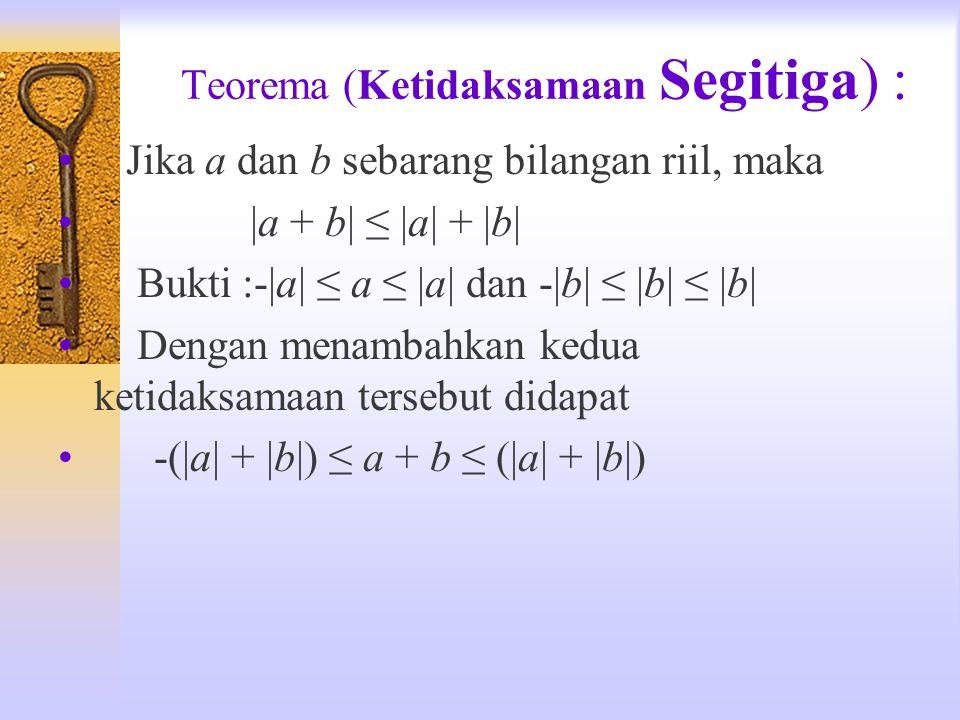 Teorema (Ketidaksamaan Segitiga) : Jika a dan b sebarang bilangan riil, maka |a + b| ≤ |a| + |b| Bukti :-|a| ≤ a ≤ |a| dan -|b| ≤ |b| ≤ |b| Dengan men