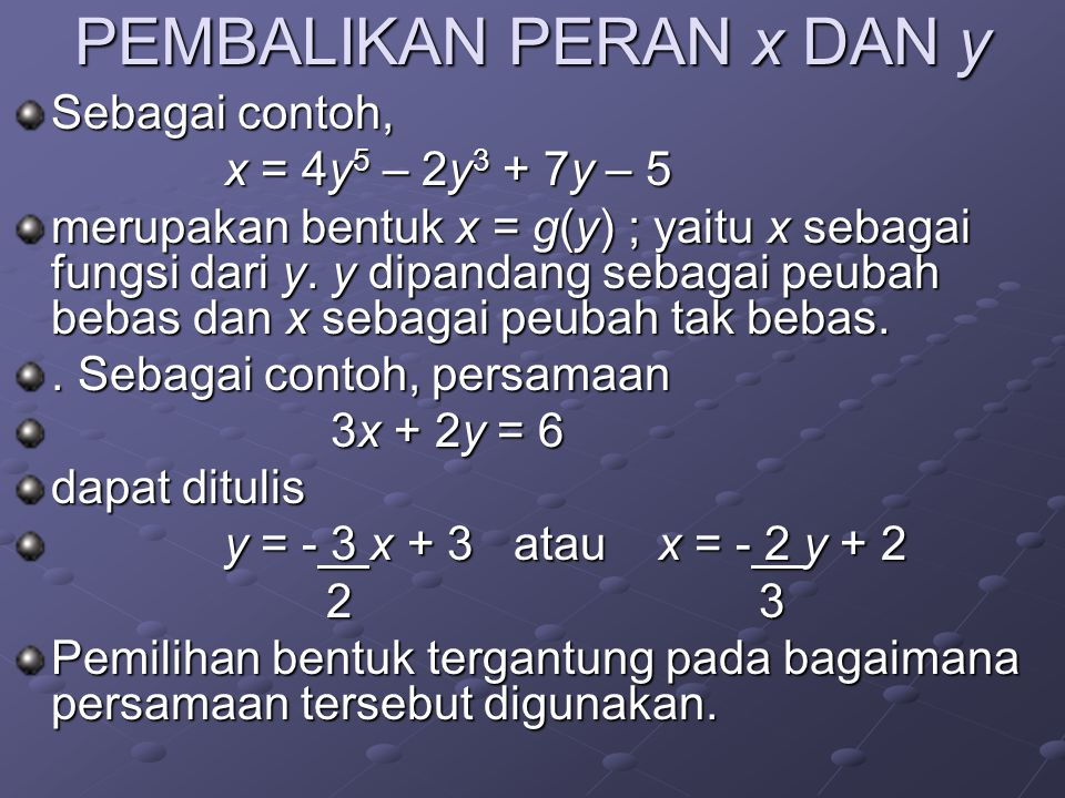 PEMBALIKAN PERAN x DAN y Sebagai contoh, x = 4y 5 – 2y 3 + 7y – 5 merupakan bentuk x = g(y) ; yaitu x sebagai fungsi dari y. y dipandang sebagai peuba
