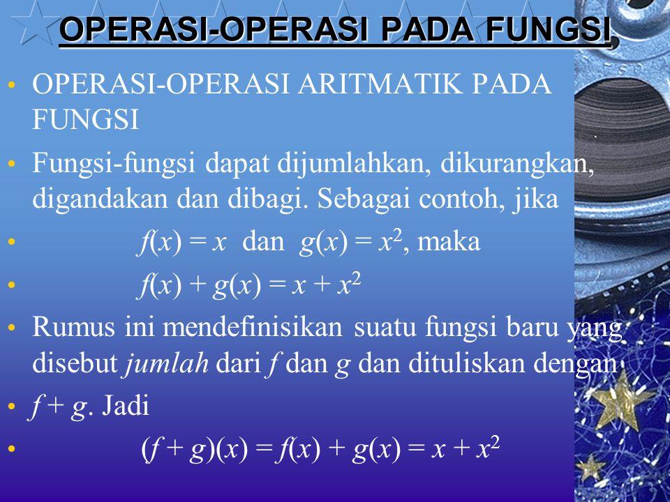 OPERASI-OPERASI PADA FUNGSI OPERASI-OPERASI ARITMATIK PADA FUNGSI Fungsi-fungsi dapat dijumlahkan, dikurangkan, digandakan dan dibagi. Sebagai contoh,