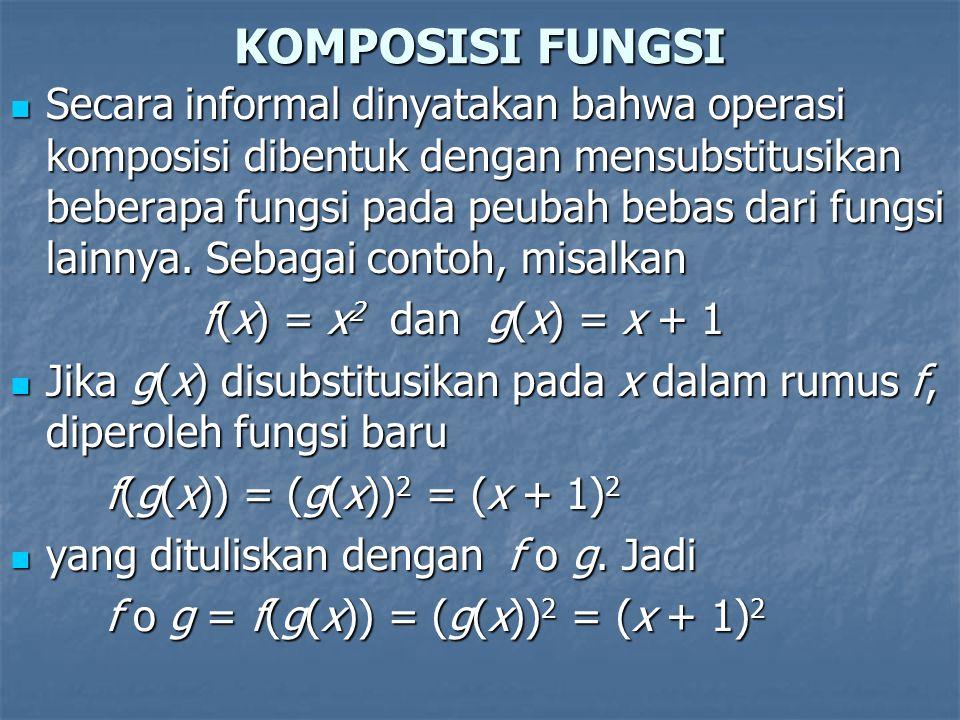 KOMPOSISI FUNGSI Secara informal dinyatakan bahwa operasi komposisi dibentuk dengan mensubstitusikan beberapa fungsi pada peubah bebas dari fungsi lai