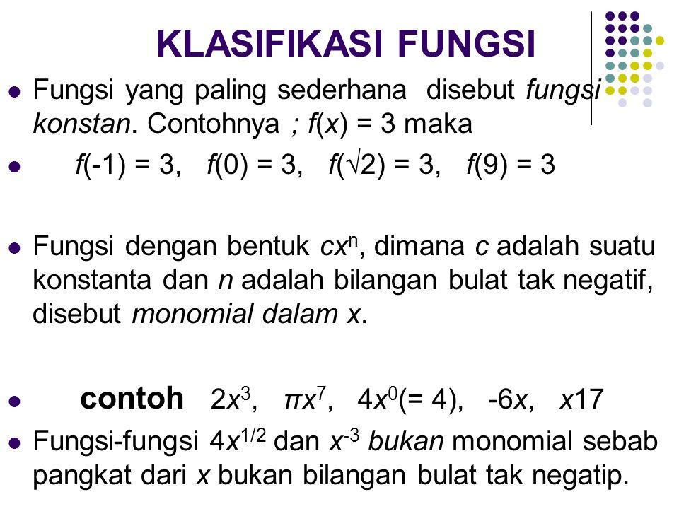 KLASIFIKASI FUNGSI Fungsi yang paling sederhana disebut fungsi konstan. Contohnya ; f(x) = 3 maka f(-1) = 3, f(0) = 3, f(√2) = 3, f(9) = 3 Fungsi deng