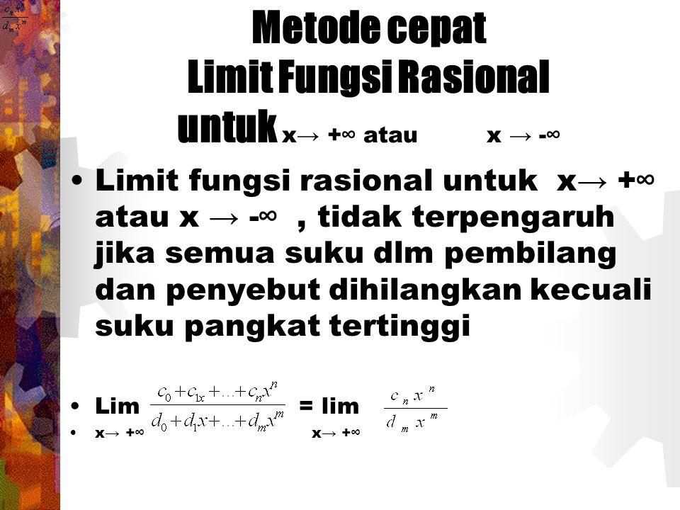 Metode cepat Limit Fungsi Rasional untuk x→ +∞ atau x → -∞ Limit fungsi rasional untuk x→ +∞ atau x → -∞, tidak terpengaruh jika semua suku dlm pembil