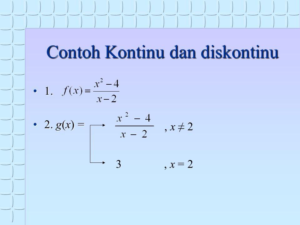Contoh Kontinu dan diskontinu 1.1. 2. g(x) =2. g(x) = 3, x ≠ 2, x = 2