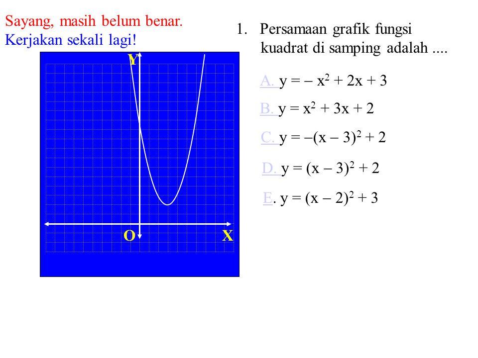 XO Y 1. Persamaan grafik fungsi kuadrat di samping adalah.... B. y = x 2 + 3x + 2 C. C. y =  (x  3) 2 + 2 D. y = (x  3) 2 + 2 E. y = (x  2) 2 + 3