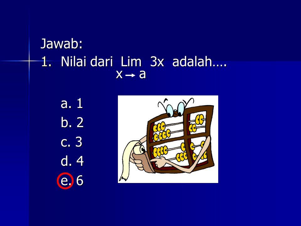 Jawab: 1.Nilai dari Lim 3x adalah…. x a x a a. 1 b. 2 c. 3 d. 4 e. 6 e. 6