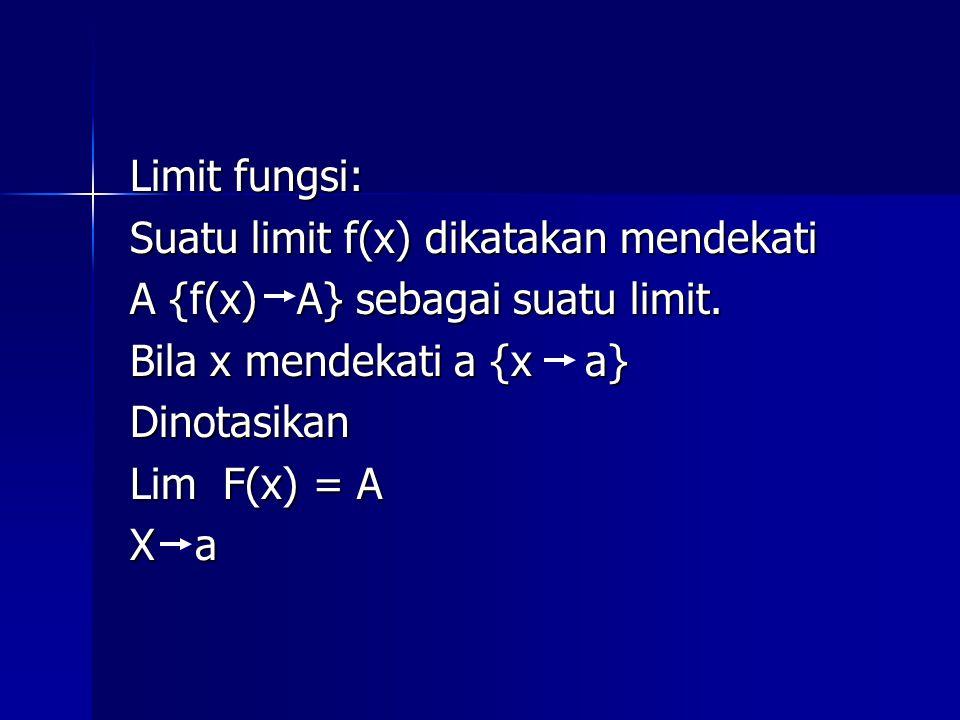 Limit fungsi: Suatu limit f(x) dikatakan mendekati A {f(x) A} sebagai suatu limit. Bila x mendekati a {x a} Dinotasikan Lim F(x) = A X a