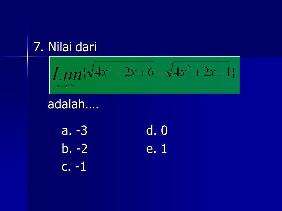 7. Nilai dari adalah…. adalah…. a. -3d. 0 b. -2e. 1 c. -1