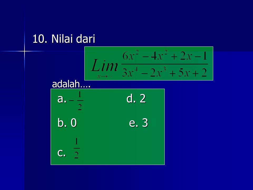 10. Nilai dari adalah…. adalah…. a. d. 2 b. 0 e. 3 c.