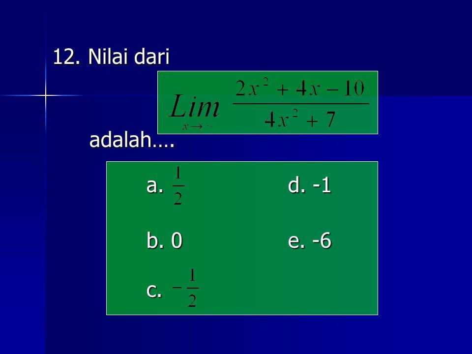 12. Nilai dari adalah…. adalah…. a. d. -1 b. 0e. -6 c.