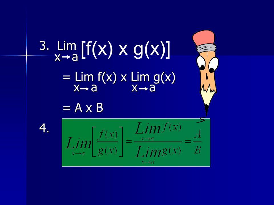 3. Lim x a x a = Lim f(x) x Lim g(x) = Lim f(x) x Lim g(x) x a x a x a x a = A x B = A x B4. [f(x) x g(x)]