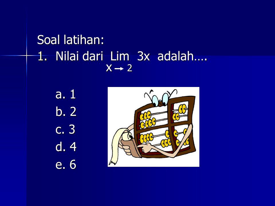 Soal latihan: 1.Nilai dari Lim 3x adalah…. x 2 x 2 a. 1 b. 2 c. 3 d. 4 e. 6 e. 6