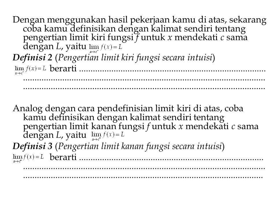 Setelah kamu memahami konsep limit, limit kiri dan limit kanan, berikan komentar kamu tentang hubungan antara limit, limit kiri, dan limit kanan berikut.