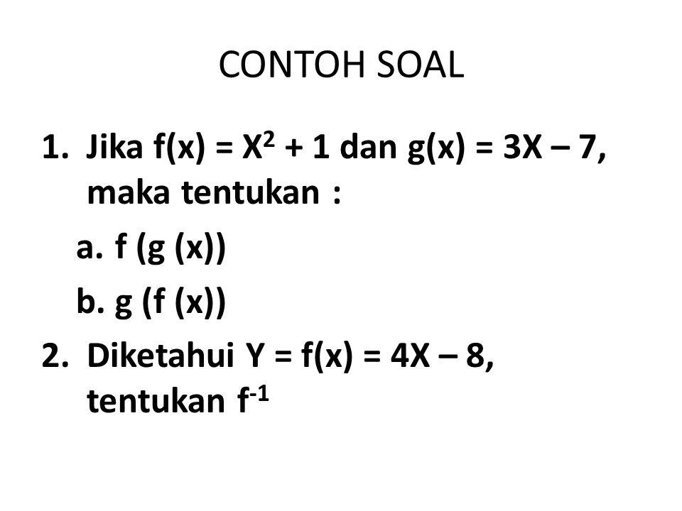 CONTOH SOAL 1.Jika f(x) = X 2 + 1 dan g(x) = 3X – 7, maka tentukan : a.f (g (x)) b.g (f (x)) 2.Diketahui Y = f(x) = 4X – 8, tentukan f -1