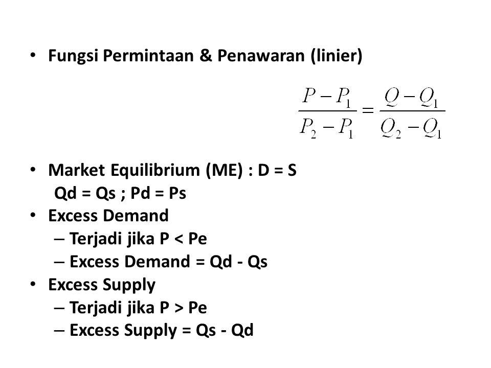 Fungsi Permintaan & Penawaran (linier) Market Equilibrium (ME) : D = S Qd = Qs ; Pd = Ps Excess Demand – Terjadi jika P < Pe – Excess Demand = Qd - Qs Excess Supply – Terjadi jika P > Pe – Excess Supply = Qs - Qd