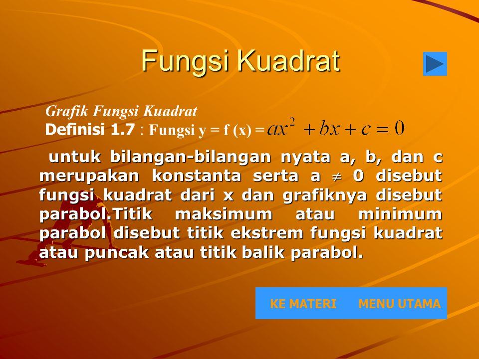 Fungsi Kuadrat untuk bilangan-bilangan nyata a, b, dan c merupakan konstanta serta a  0 disebut fungsi kuadrat dari x dan grafiknya disebut parabol.T