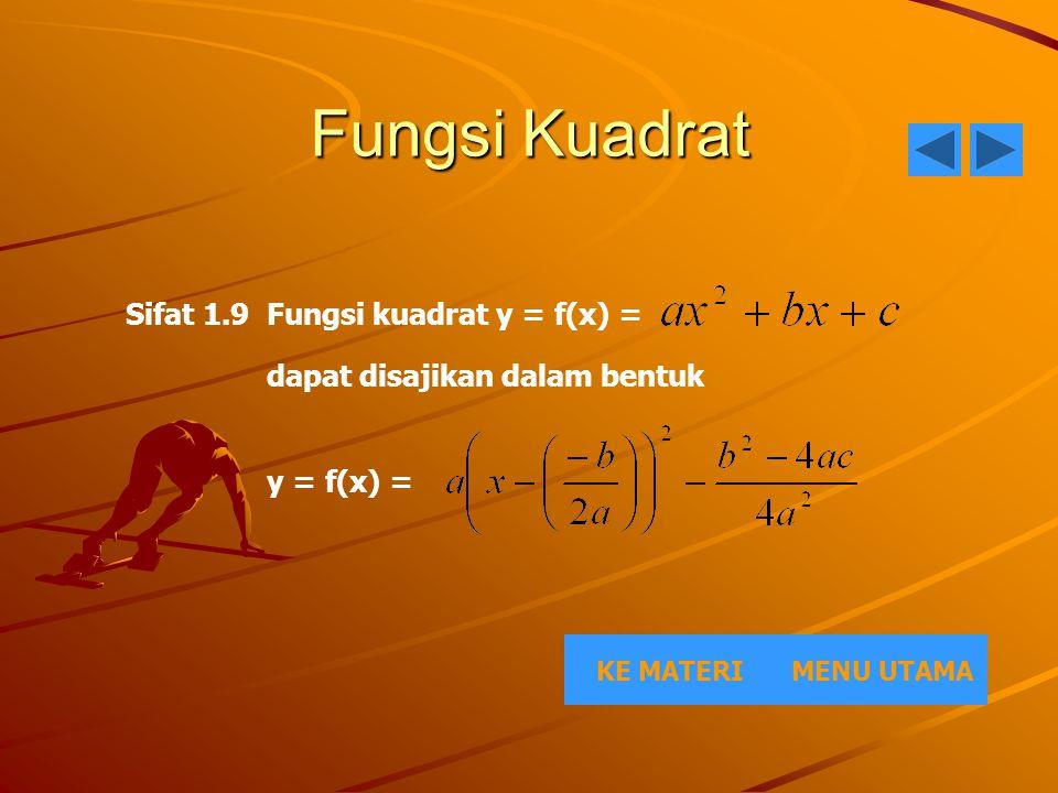 Fungsi Kuadrat MENU UTAMAKE MATERI Sifat 1.9 Fungsi kuadrat y = f(x) = dapat disajikan dalam bentuk y = f(x) =