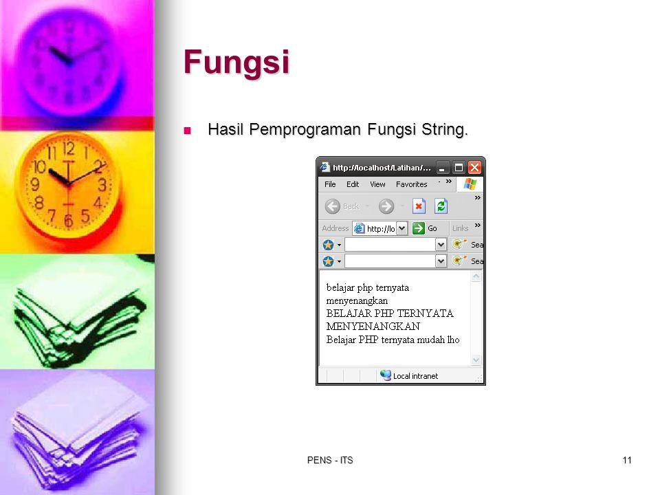 PENS - ITS11 Hasil Pemprograman Fungsi String. Hasil Pemprograman Fungsi String. Fungsi