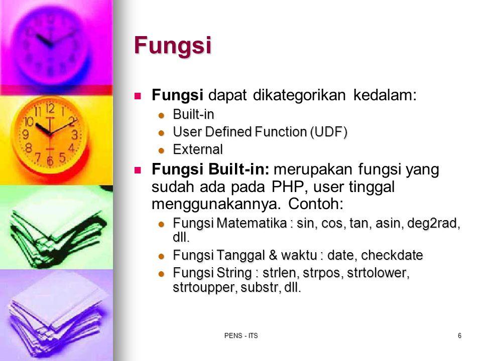 PENS - ITS6 Fungsi Fungsi dapat dikategorikan kedalam: Built-in Built-in User Defined Function (UDF) User Defined Function (UDF) External External Fun