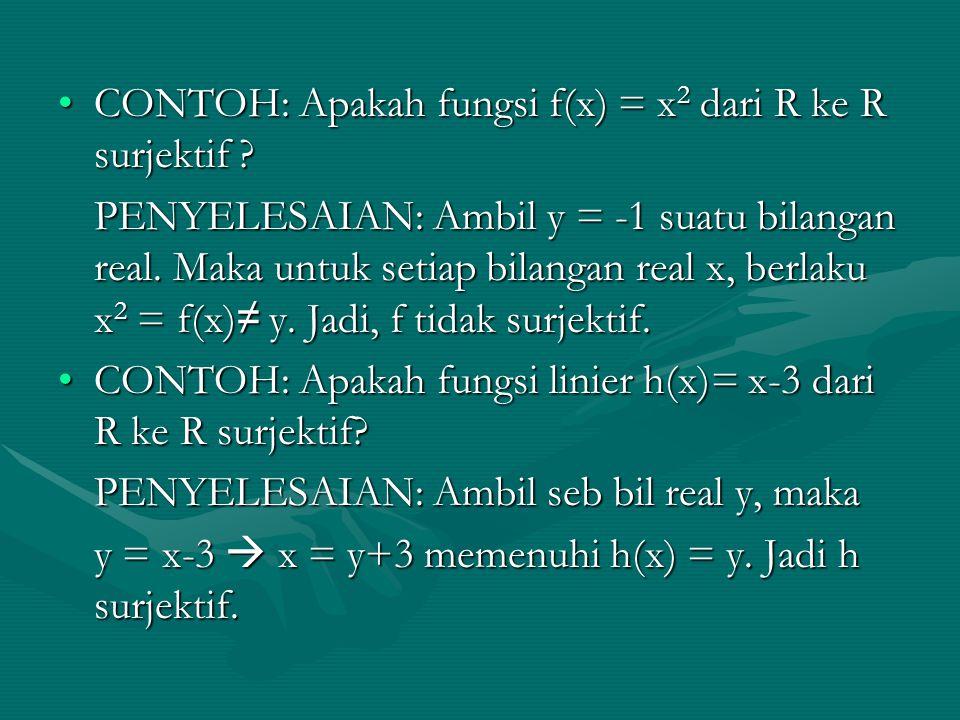CONTOH: Apakah fungsi f(x) = x 2 dari R ke R surjektif ?CONTOH: Apakah fungsi f(x) = x 2 dari R ke R surjektif ? PENYELESAIAN: Ambil y = -1 suatu bila
