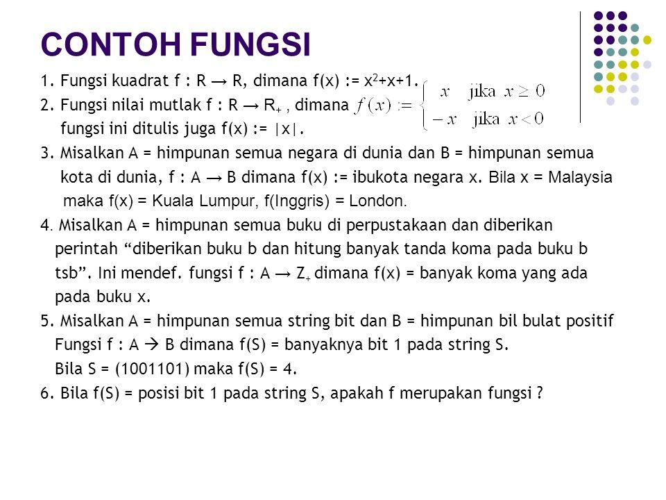 FUNGSI FLOORING dan CEILING 1.Fungsi flooring f : R → Z, dimana f(x):= bil bulat terbesar yang kurang dari atau sama dengan x.