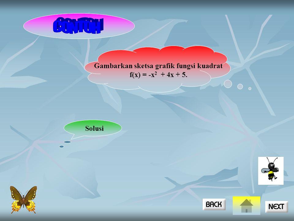 Gambarkan sketsa grafik fungsi kuadrat f(x) = -x 2 + 4x + 5. Solusi
