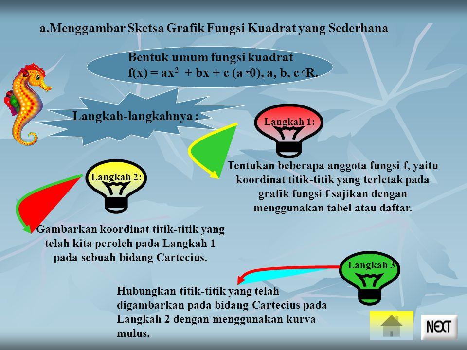 Langkah 2: a.Menggambar Sketsa Grafik Fungsi Kuadrat yang Sederhana Langkah-langkahnya : Langkah 1: Tentukan beberapa anggota fungsi f, yaitu koordinat titik-titik yang terletak pada grafik fungsi f sajikan dengan menggunakan tabel atau daftar.