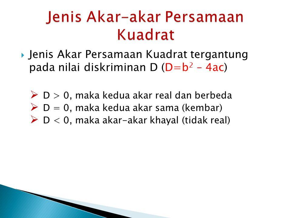  Jenis Akar Persamaan Kuadrat tergantung pada nilai diskriminan D (D=b 2 – 4ac)  D > 0, maka kedua akar real dan berbeda  D = 0, maka kedua akar sa