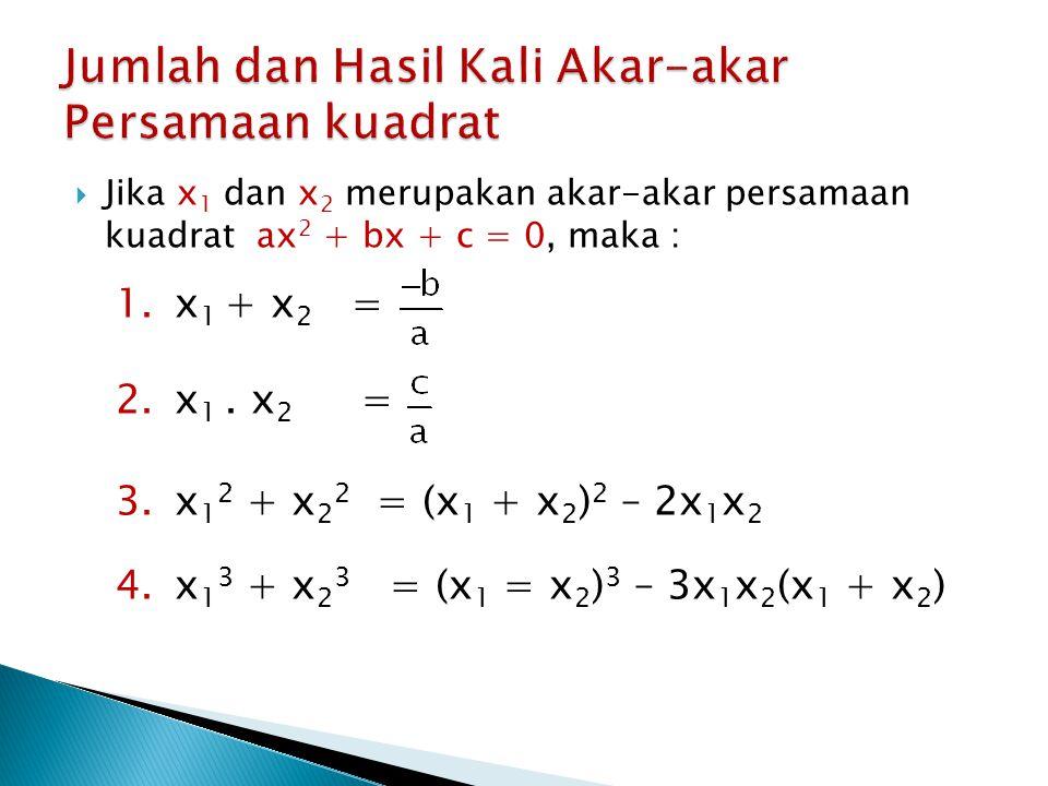  Jika x 1 dan x 2 merupakan akar-akar persamaan kuadrat ax 2 + bx + c = 0, maka : 1.x 1 + x 2 = 2.x 1. x 2 = 3.x 1 2 + x 2 2 = (x 1 + x 2 ) 2 – 2x 1