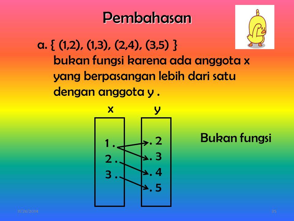 11/26/201434 2. Gambarlah relasi-relasi berikut dengan diagram panah. Kemudian tentukan termasuk fungsi atau bukan fungsi ! a. { (1,2), (1,3), (2,4),