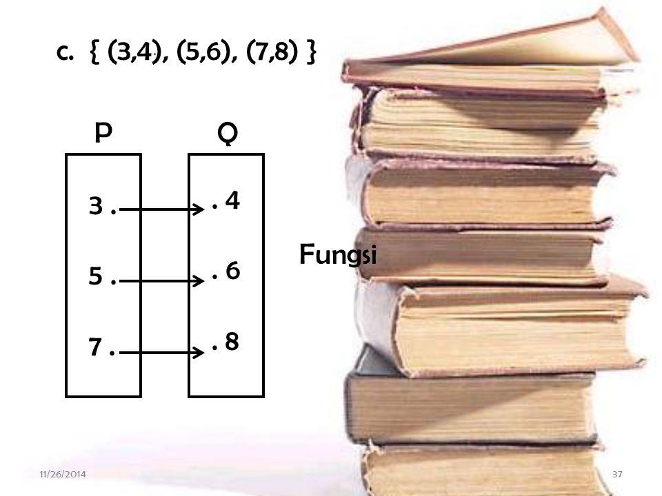 11/26/201436 b. { (1,1), (2,2), (3,3) } 1. 2. 3.. 1. 2. 3 Fungsi BA