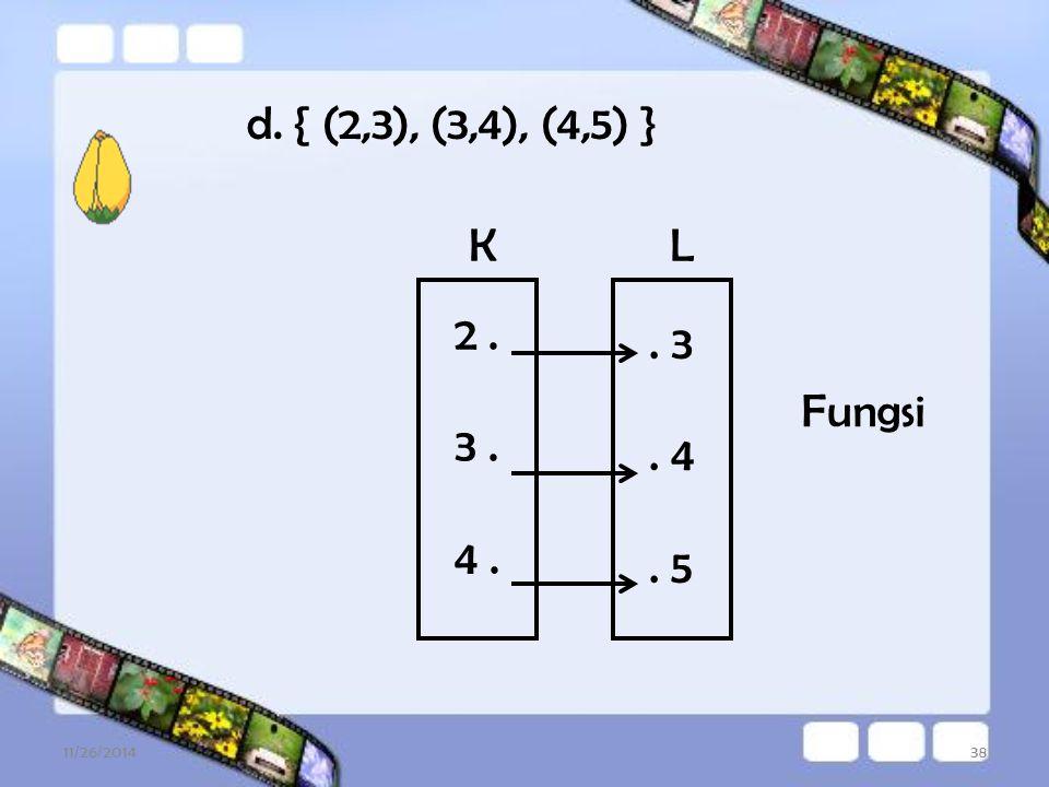 11/26/201437 c. { (3,4), (5,6), (7,8) }. 4. 6. 8 3. 5. 7. Fungsi PQ