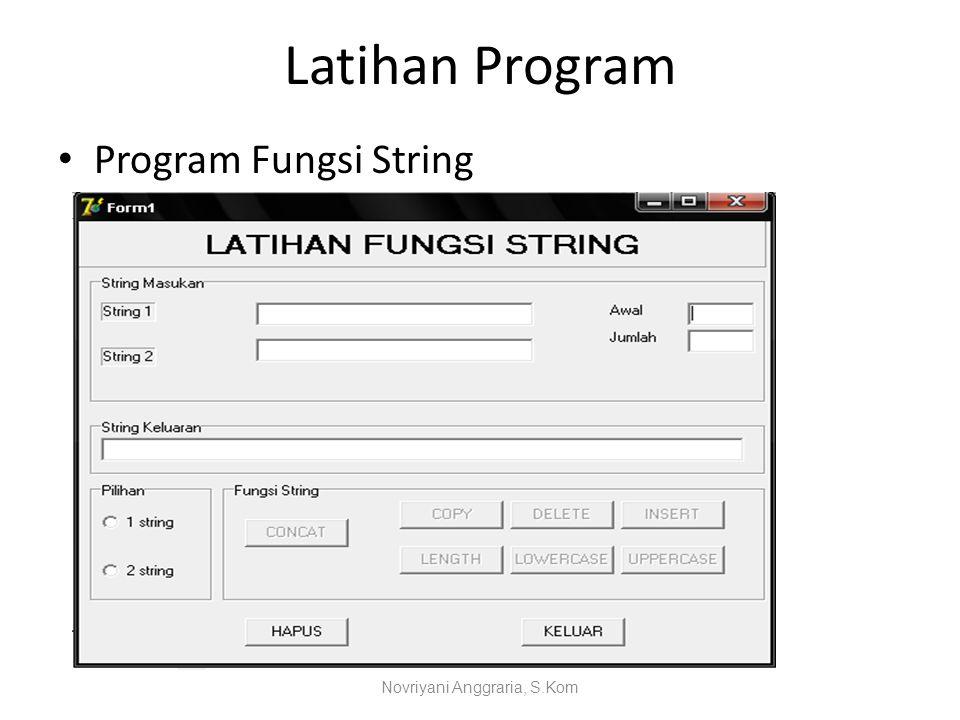 Latihan Program Program Fungsi String Novriyani Anggraria, S.Kom