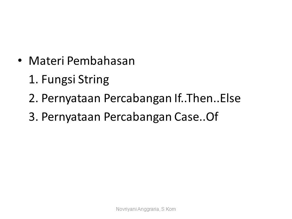 Lanjutan Percabangan Bersyarat If-Then-Else Contoh-1 : Var bil:integer; hsl:string; Begin If (bil>=60) Then hsl:='LULUS' Else hsl:='GAGAL'; End; Novriyani Anggraria, S.Kom
