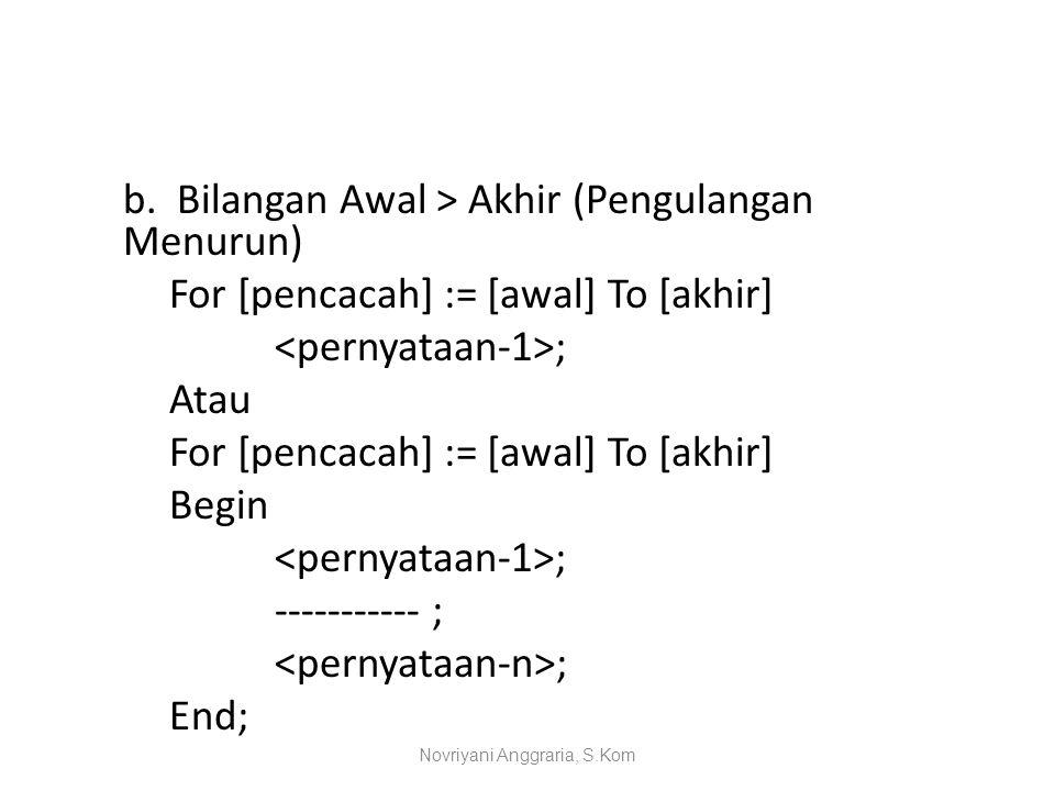 b. Bilangan Awal > Akhir (Pengulangan Menurun) For [pencacah] := [awal] To [akhir] ; Atau For [pencacah] := [awal] To [akhir] Begin ; ----------- ; ;