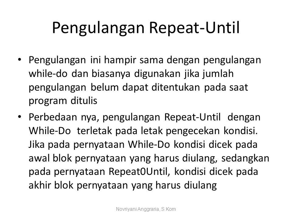 Pengulangan Repeat-Until Pengulangan ini hampir sama dengan pengulangan while-do dan biasanya digunakan jika jumlah pengulangan belum dapat ditentukan