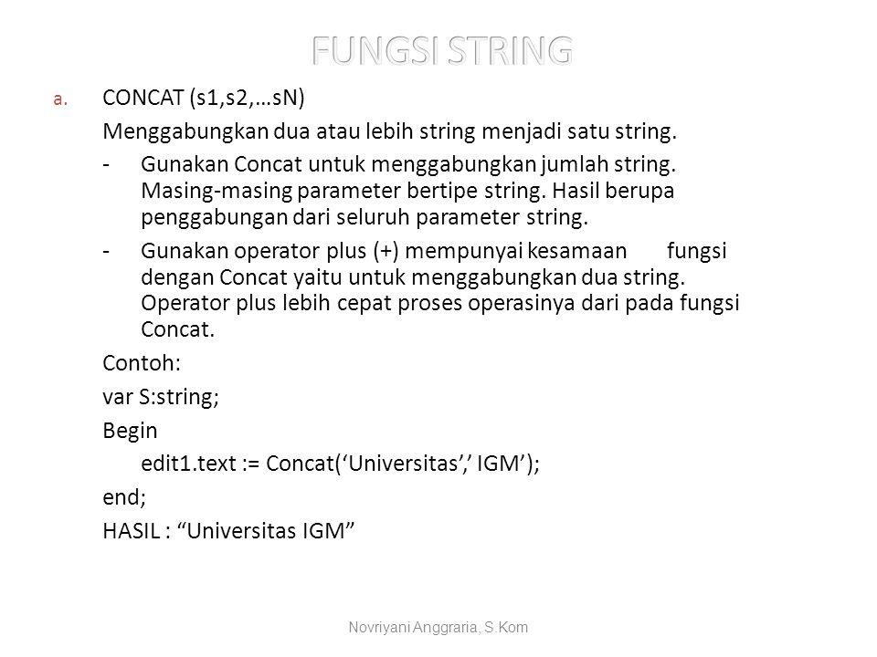 a. CONCAT (s1,s2,…sN) Menggabungkan dua atau lebih string menjadi satu string. -Gunakan Concat untuk menggabungkan jumlah string. Masing-masing parame