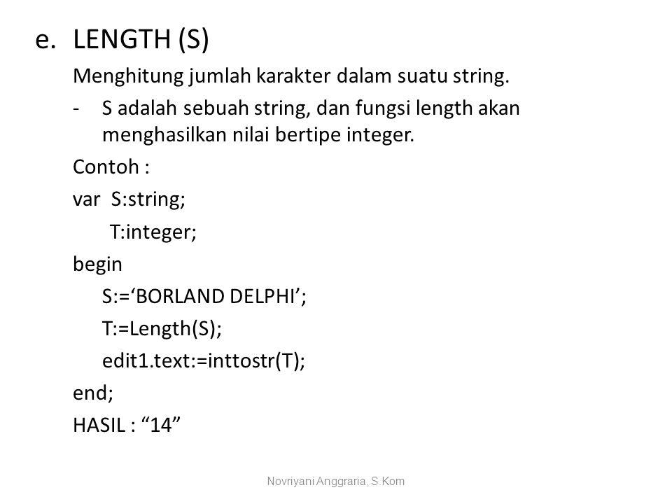 e.LENGTH (S) Menghitung jumlah karakter dalam suatu string. -S adalah sebuah string, dan fungsi length akan menghasilkan nilai bertipe integer. Contoh