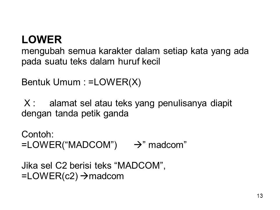 13 LOWER mengubah semua karakter dalam setiap kata yang ada pada suatu teks dalam huruf kecil Bentuk Umum : =LOWER(X) X : alamat sel atau teks yang pe